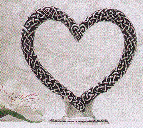 Celtic knot in heart shape wedding cake topper
