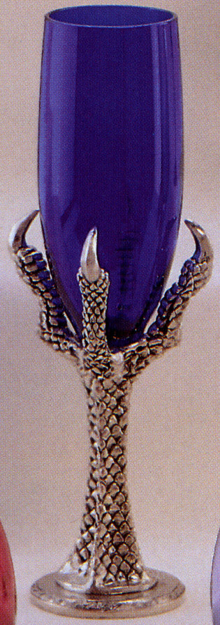 pewter dragon claw holding a purple glass wine flute