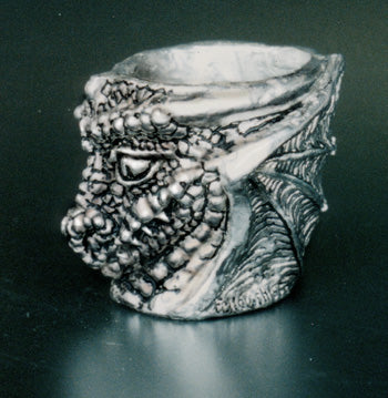 dragon head shot glass made from pewter