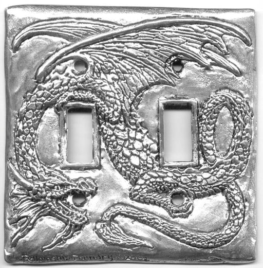 double pewter switch plate with long tailed and winged dragon