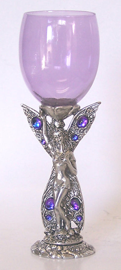 purple colored wine glass with fairy standing inlayed with gems for base and stem