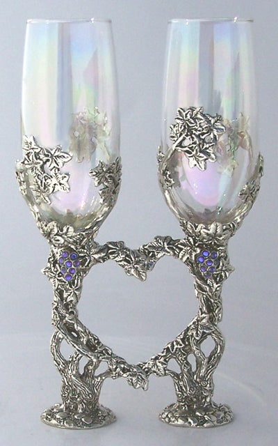 grape vines inlayed with gems wrapped around wedding heart flutes