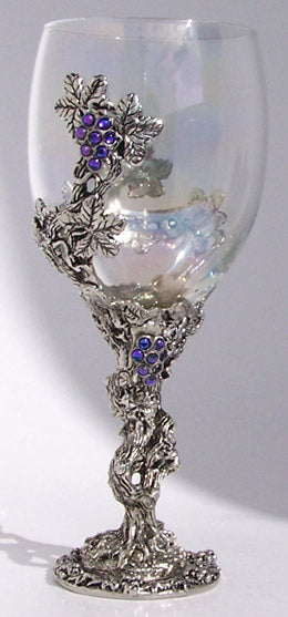 pewter grape vine with gems inlayed wrapped around a wine glass