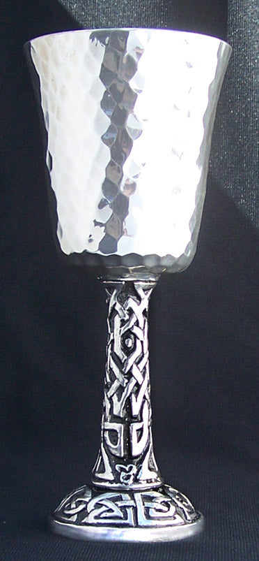 hammered pewter goblet with celtic knots for the stem and base