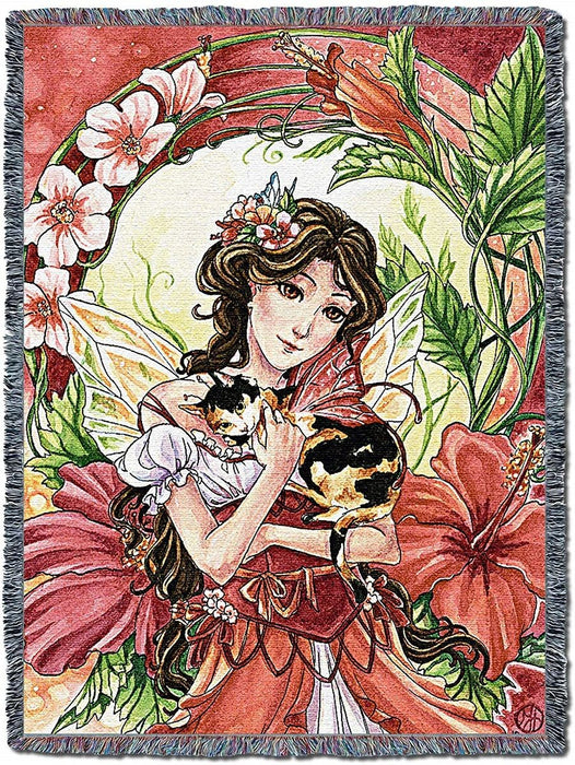 Hibiscus Fairy Woven Tapestry Blanket