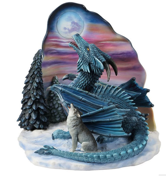 Moonsong Dragon and Wolf Statue