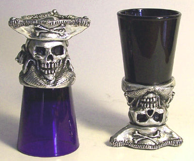 pirate with pirate hat pewter base shot glass