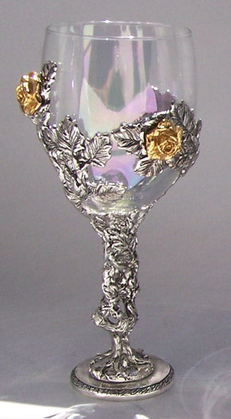 pewter rose vine wrapped around glass wedding cup