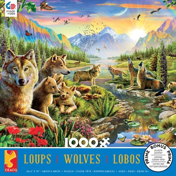 Summer Wolf Family Jigsaw Puzzle (1000 Pieces)