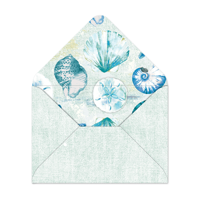 Watercolor Shells Decorative Pouch Notecards