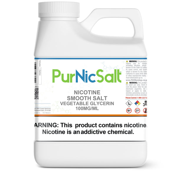 PurNic™ Smooth Nicotine Salt 100mg/ml Nicotine Smooth Salts PurNic 1 Gallon Vegetable Glycerin