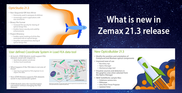 Find out what is new the Zemax 21.3 optical design software release.