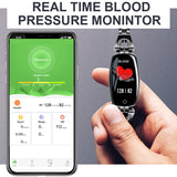 "Smartwatch 0.96"" Heart Rate Blood Pressure Monitor Pedometer Fitness Tracker Waterproof"