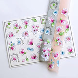 1pc 3D Acrylic Engraved Color Flower Nail Art Stickers