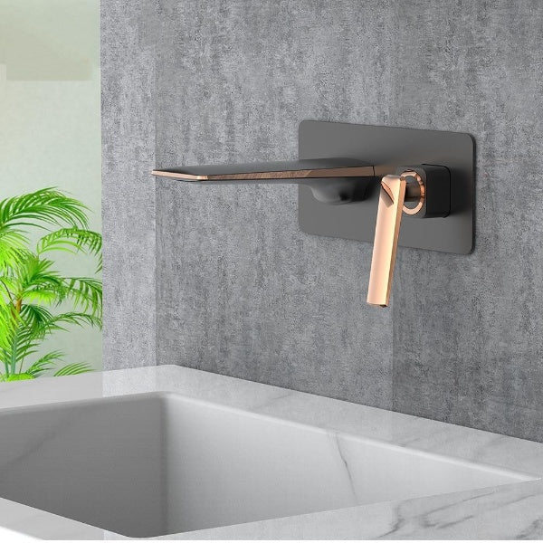 Hot And Cold Water Bathroom Faucet Wall Mount Mixer Sink Tap