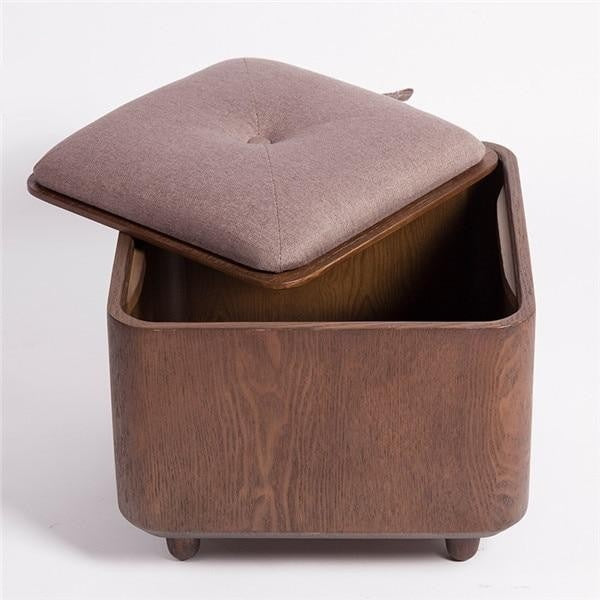 Multi functional Wooden Solid Frame Footrest Ottoman
