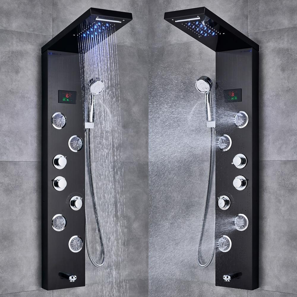 Modern Bathroom Faucet LED Shower with Temperature Screen