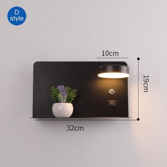 Bedroom LED Wall Lights With Switch 5V 2.1A USB Charging Interface With Flower Luminaire