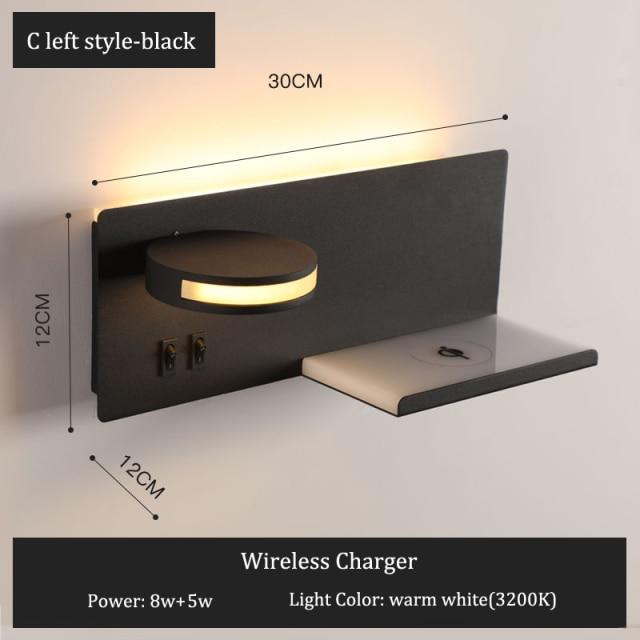 Modern Wall Lamp for Bed Room with Wireless USB Charger