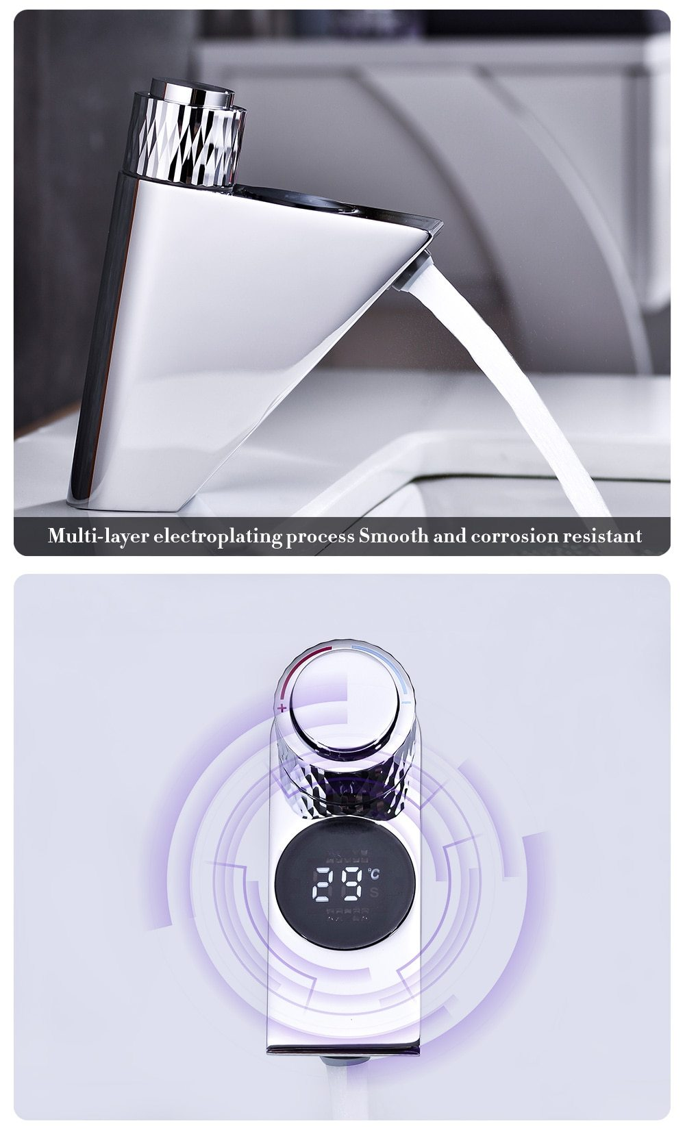 New Style Temperature Display Hot And Cold mixer Faucet
