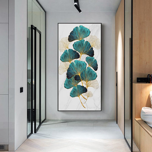 Nordic Golden Green Plant Leaf abstract Canvas