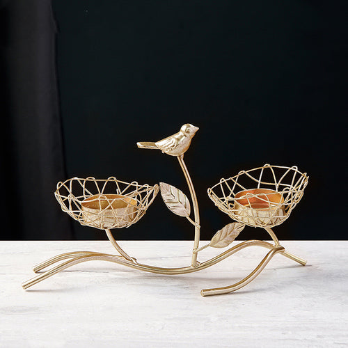Golden Wrought Iron Candle Holder