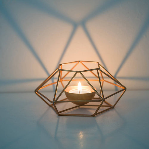 Geometric Wrought Iron Golden Candle Holder
