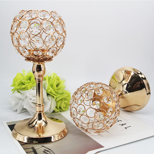 Golden Crystal Ball Candle Holder