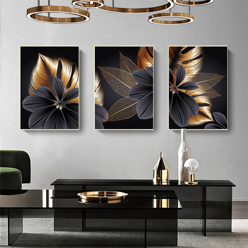 Tropical Plant Black Gold Leaf Painting