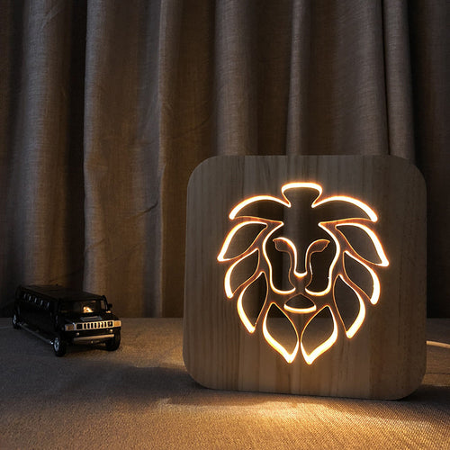 Solid Wood Lion Table lamp