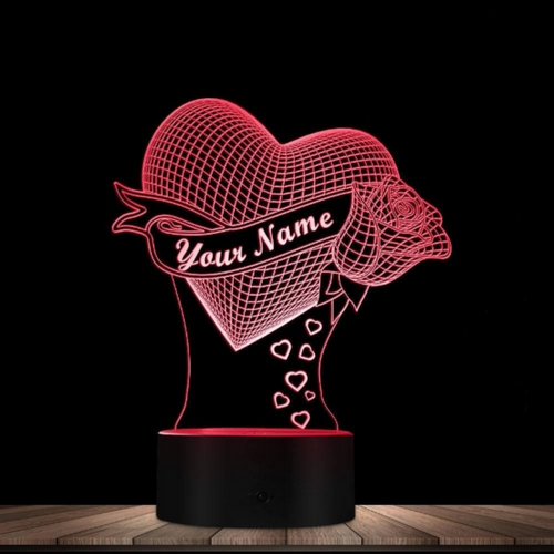 Personalized Loving Heart 3D Effect Optical Illusion Light