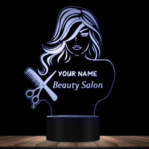 Personalized Beauty Salon Fashion Lady LED Illusion Night Light