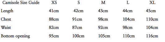 Camisole Size Guide