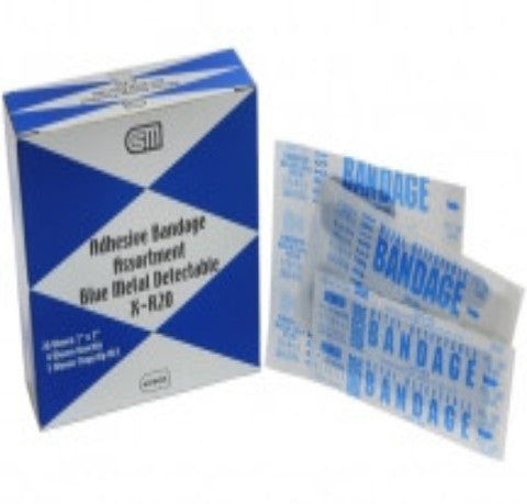 Adhesive Bandage Assortment Blue Metal Detectable X-R20