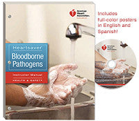 This training package contains materials for teaching the classroom-based Heartsaver Bloodborne Pathogens course: 1 copy of the Heartsaver Bloodborne Pathogens Instructor Manual, 2 Heartsaver Bloodborne Pathogens Posters (1 in English and 1 in Spanish), and a DVD.  American Heart Association  Item: 80-1492