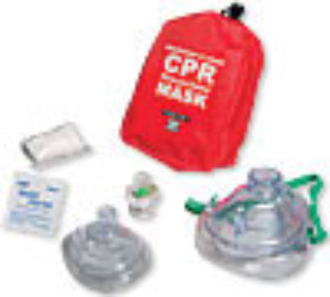 CPR Adult/Child and Infant Resuscitator Masks in Soft Red Case