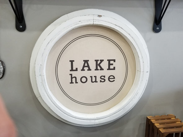 Round Vintage Lake House Sign