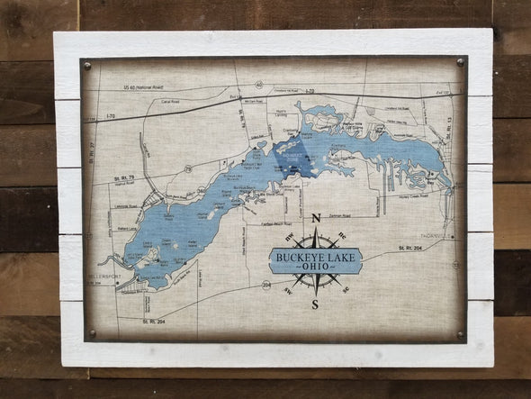 Vintage Linen Buckeye Lake Map