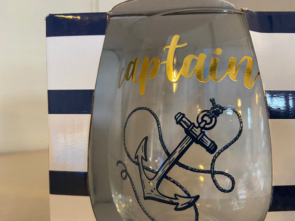 Captain and First Mate Stemless Glass Set
