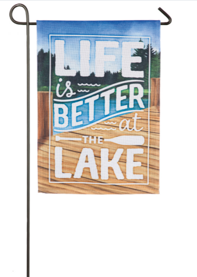 Life is Better at the Lake Garden Burlap Flag - Buckeye Lake Place