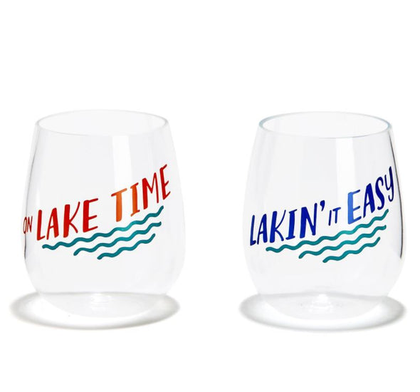 Lake Life Acrylic Wine Glass Set