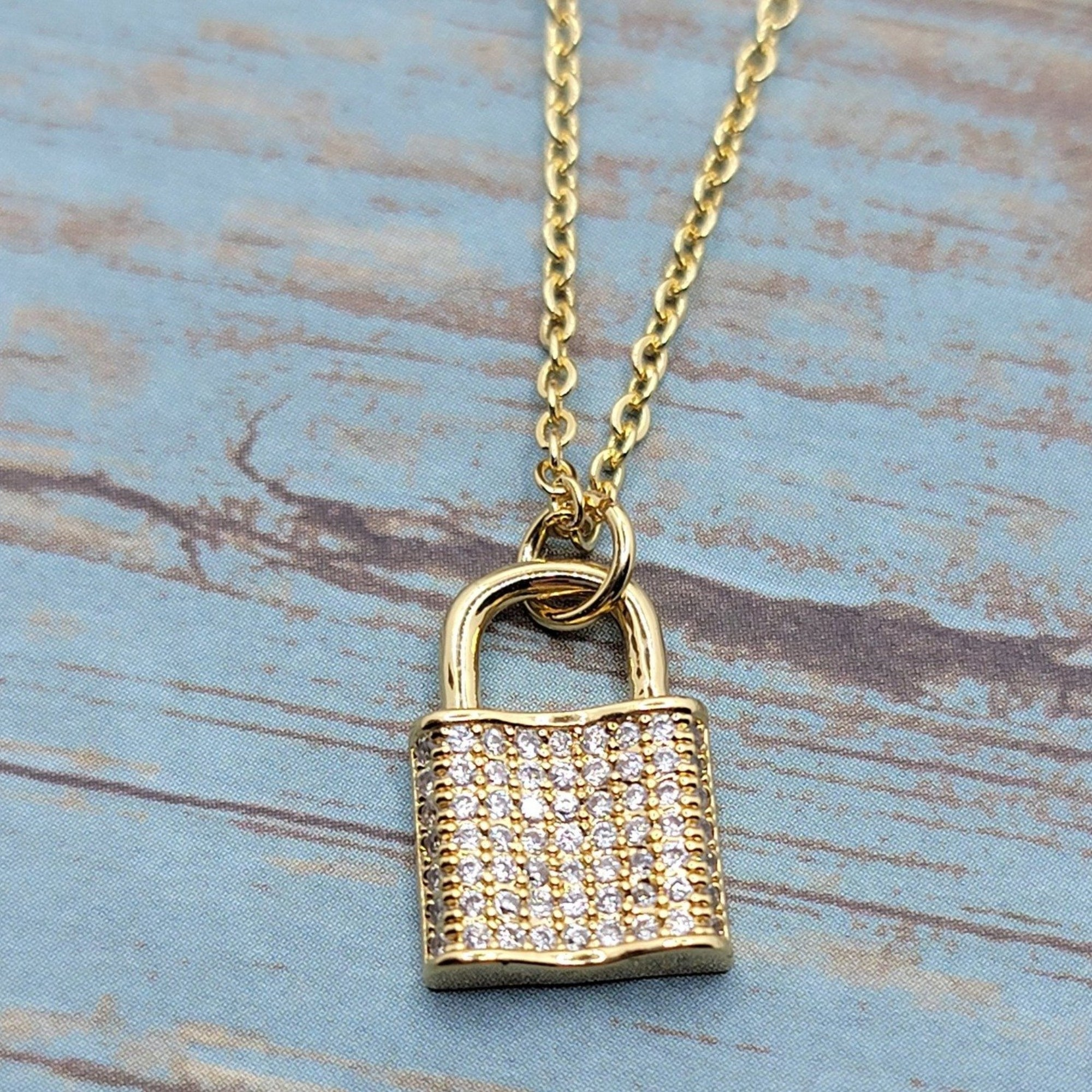 Gold Cubic Zirconia Pave Lock Necklace