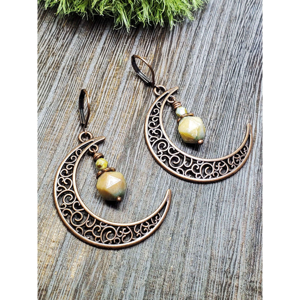 Antiqued Copper Crescent Moon Earrings - Nicki Lynn Jewelry