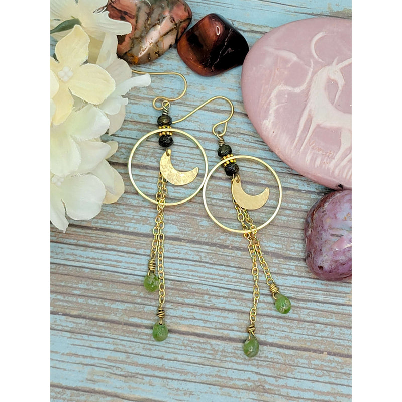 Bohemian Moon Drop Hoop Earrings - Nicki Lynn Jewelry