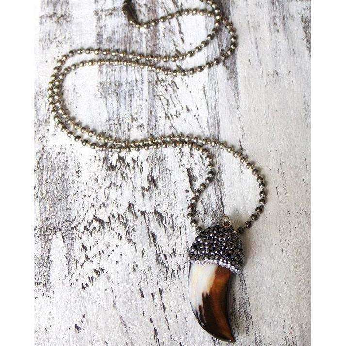 Boho Tusk Necklace with Oxidized Sterling Silver Chain - Nicki Lynn Jewelry