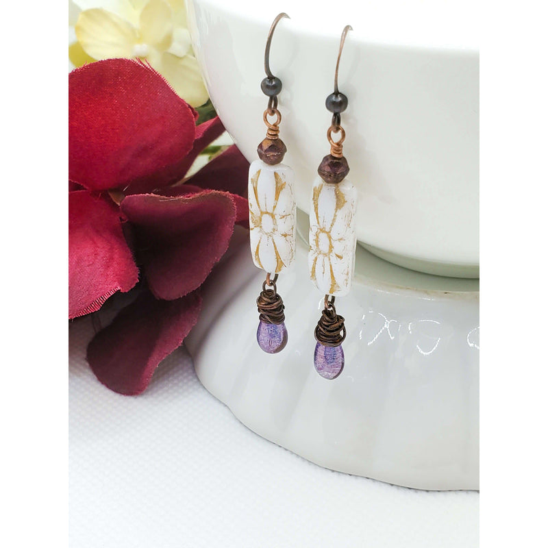 Copper Earrings in Purple White and Gold - Nicki Lynn Jewelry