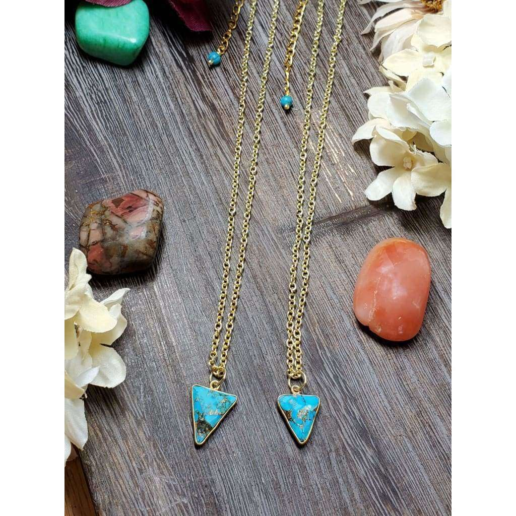 Copper Turquoise Triangle Necklace - Nicki Lynn Jewelry
