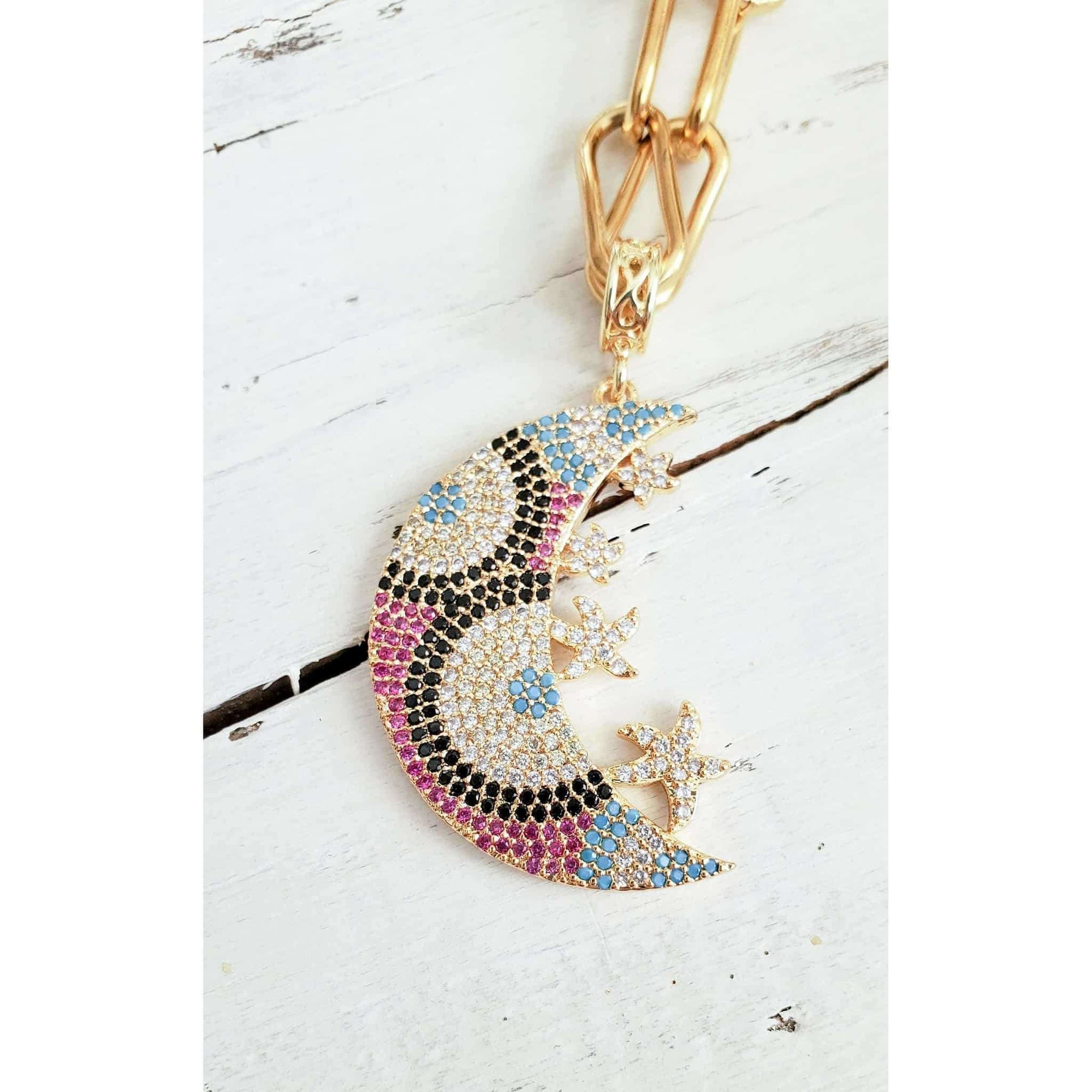 CZ Celestial Moon Necklace - Nicki Lynn Jewelry