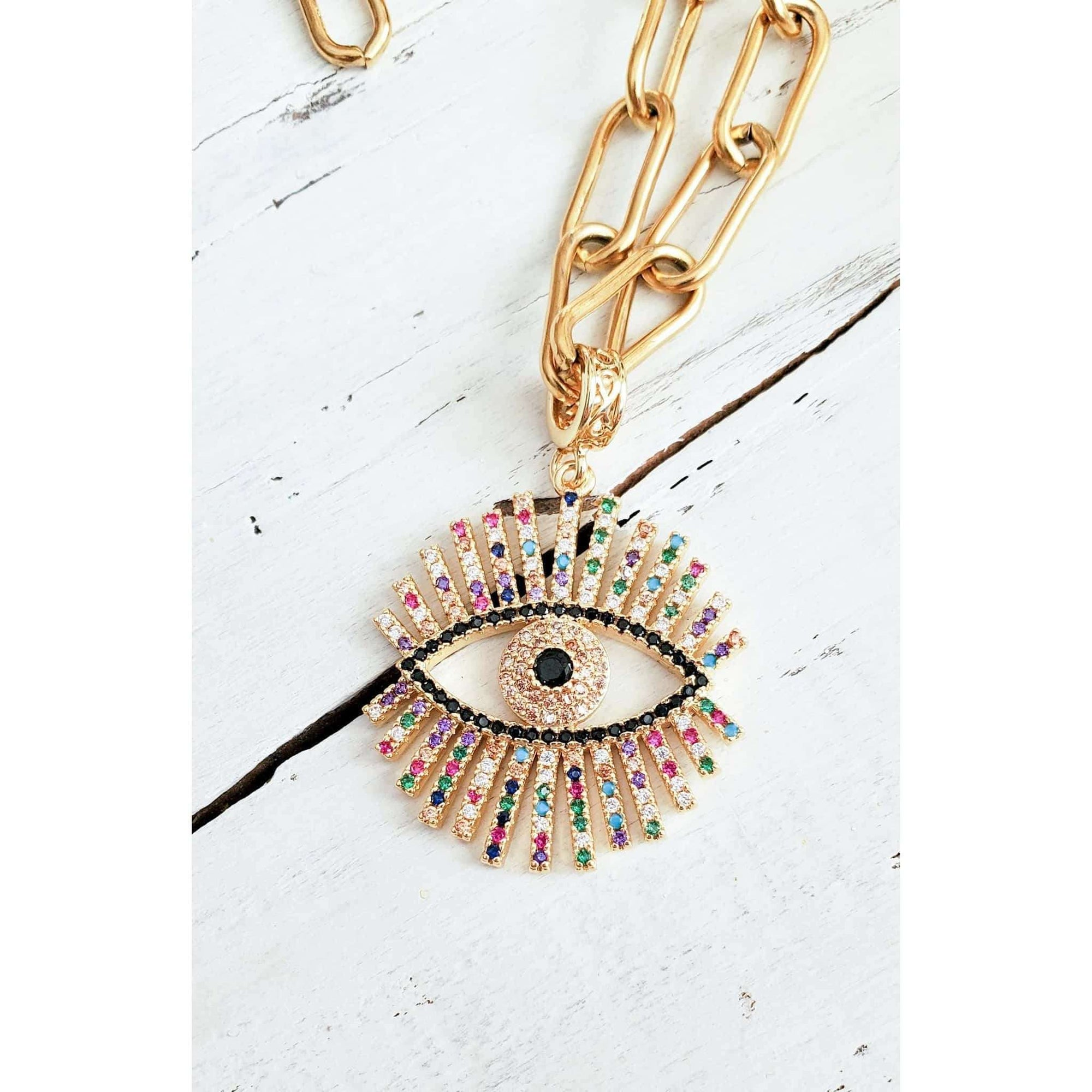 CZ Evil Eye Necklace - Nicki Lynn Jewelry