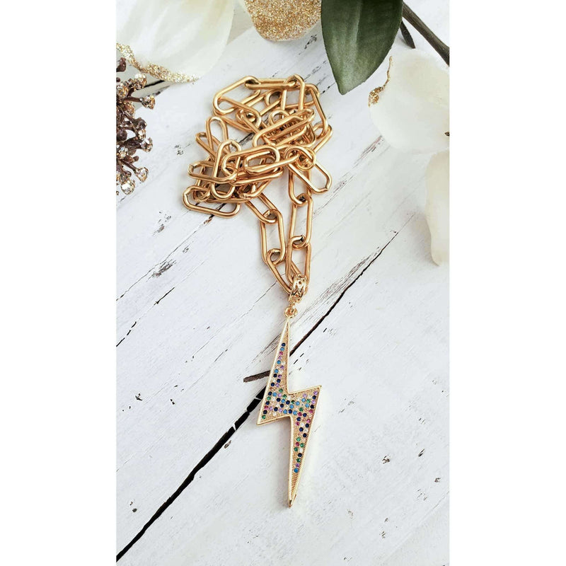 CZ Lightning Bolt Necklace - Nicki Lynn Jewelry
